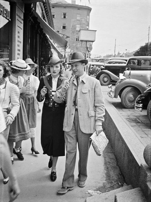 Marlene Dietrich wearing traditional costume for Salzburg Film Festival in 1936