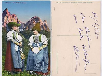 Trachten depicted on a postcard from the Dolomites