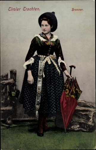 Tyrolean Trachten costume on coloured photograph